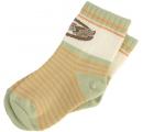 detské ponožky zelené - oranžový pásik