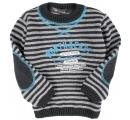 sveter sivo tyrkysový so zaplatami