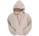 detský sveter s kožušinou - béžový