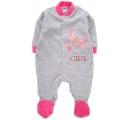 detský velúrový overal sivo ružový