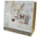 darčeková taška na Vianoce - striborno zlato hnedá