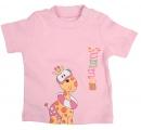 tričko krátky - žirafa - ružové