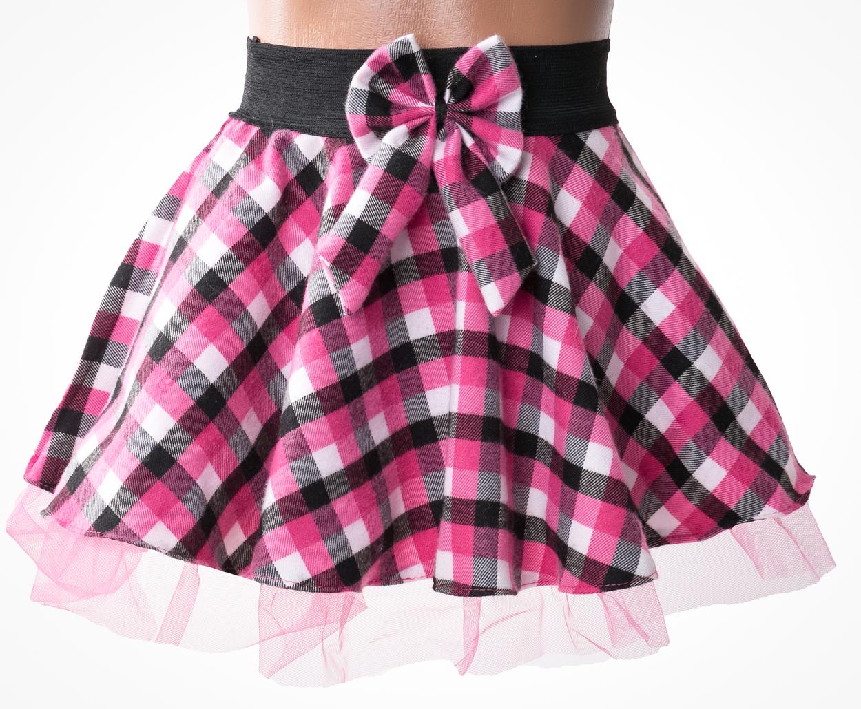13bddd0b771b Dievčenská ružová karovaná sukňa - flanel